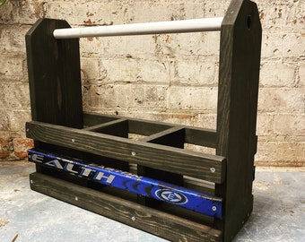 Hockey Growler Carrier - Salvaged Hockey Sticks +  Laser Personalization with Name or Logo for Dad, Papa, Grandpa or Coach