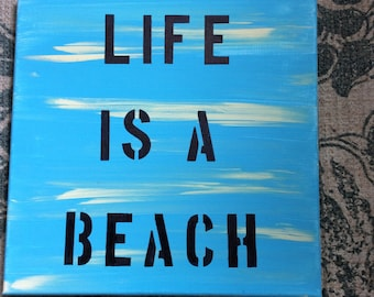 Life Is A Beach Canvas Wall Art Beach House Nailhead Trim Shabby Chic Beach Chic