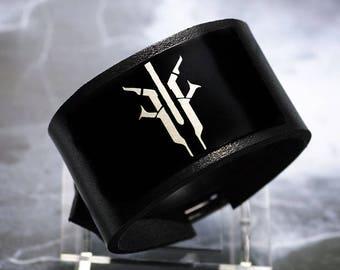 Destiny House of Devils  handmade leather bracelet wrist / cuff
