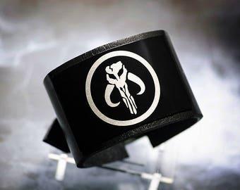 Mandalorian Krybes - Boba fett - Fett clan - star wars leather bracelet wrist / cuff