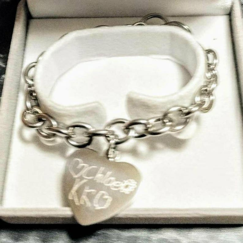 65781c3e6 Custom Charm Bracelet Engraved Handwriting Mom Gift Name | Etsy