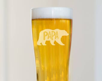 Papa Bear Beer Glass, Beer Glass for Dad, Father's Day Gift