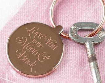 Rose 'Moon & Back' Script Keyring, Personalized keyring, Love Keyring, Keyring