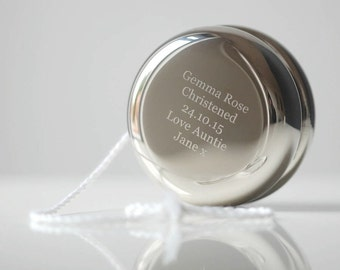 Personalised Yoyo, Perfect For Christenings and New Baby Gift, Adorable Keepsake, Polished Silver