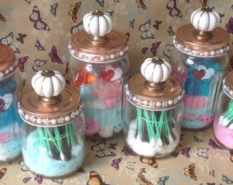 Vintage Knob Jars Set of 2 Sizes- Bathroom Jars-Storage Jars-Home Decor.