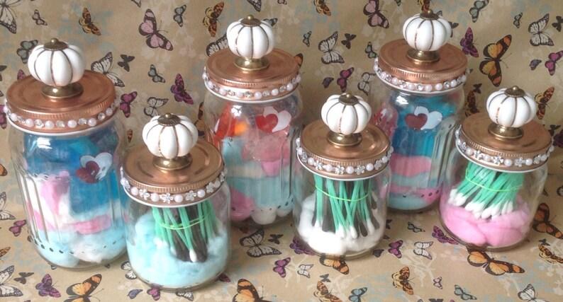 Vintage Knob Jars Set of 2 Sizes Bathroom Jars-Storage image 0