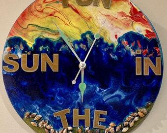 Fun in The Sun Clock- uniquely unique handmade Clock-Gift