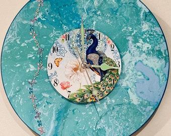 Peacock Dial Clock-Handmade-Clock, Gifts, Wedding, Christmas, Birthday!
