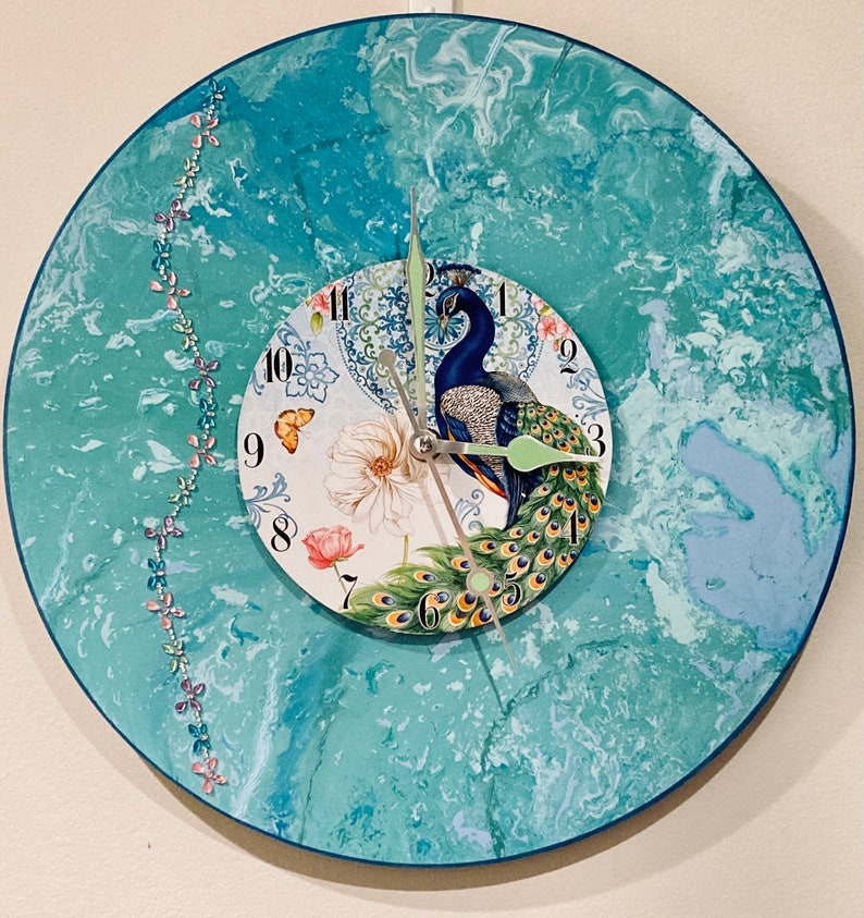Peacock Dial Clock-Handmade-Clock Gifts Wedding Christmas image 0