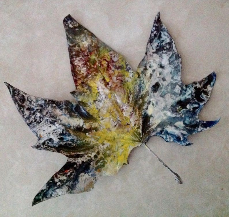 Leaf Art-Painted Natural Maple Leaf-Acrylic paint-White image 0