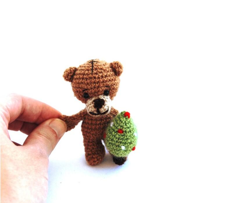 eba5c3c780 Teddy bear tiny bear holding a christmas tree holiday doll