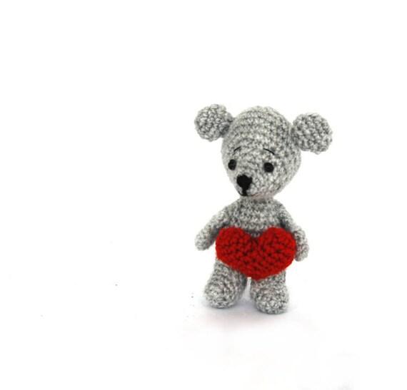 Mini ratón con corazón te amo miniatura ganchillo muñeca del | Etsy