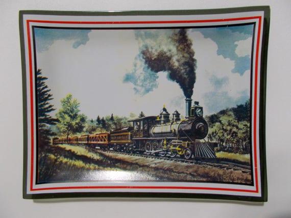 Plateau en verre noir locomotive mid century train bonbon de pièce
