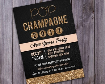 2018 printable invite gold glitter new years invite new years invite printable new years invite new years party new year printable