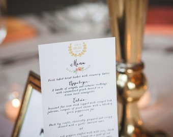 Wedding menu design, printable wedding menu, wedding printables, formal menu, elegant wedding menu, PRINTABLE event menu, bridal shower, DIY