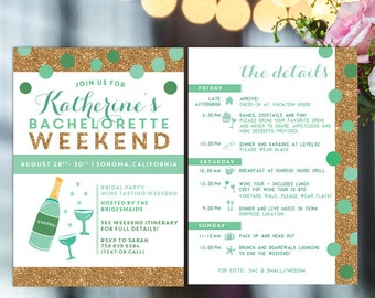 Bachelorette Printable Itinerary Invite With Mint And Gold Hens Party Invitation Weekend