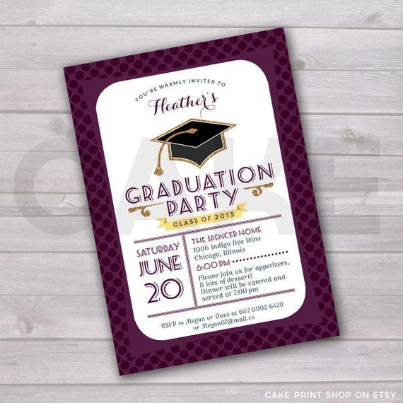 Printable Grad Party Invite Graduation Class Of
