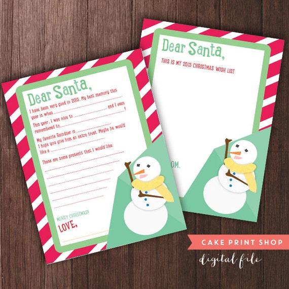 2018 Letter To Santa Printable Christmas Wish List