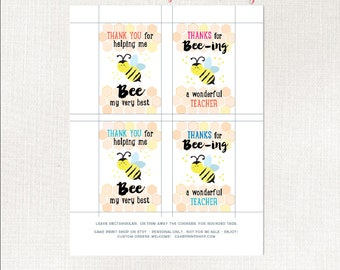 Honey Thank you tag, printable teacher thank you tag, helping me grow, Day Care thank you tag, Teacher Thank you tag, Bee thank you
