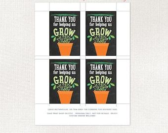 Teacher gift Thank you tag, Teacher Thankyou, Teacher flower pot tag, Thank you for helping US grow, Teacher appreciation tag,