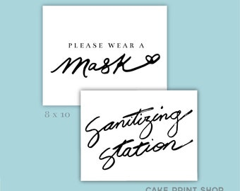 Sanitizing Station wedding, please wear a mask wedding, calligraphy wedding sanitizing sign, sanitizing station, covid wedding printable