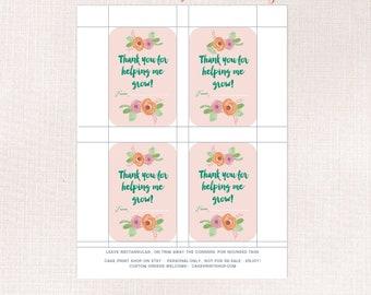 Blush floral Thank you for helping me to grow, Teacher Thank you tag,  Teacher appreciation tag, Plant Teacher gift, Teacher flower pot tag