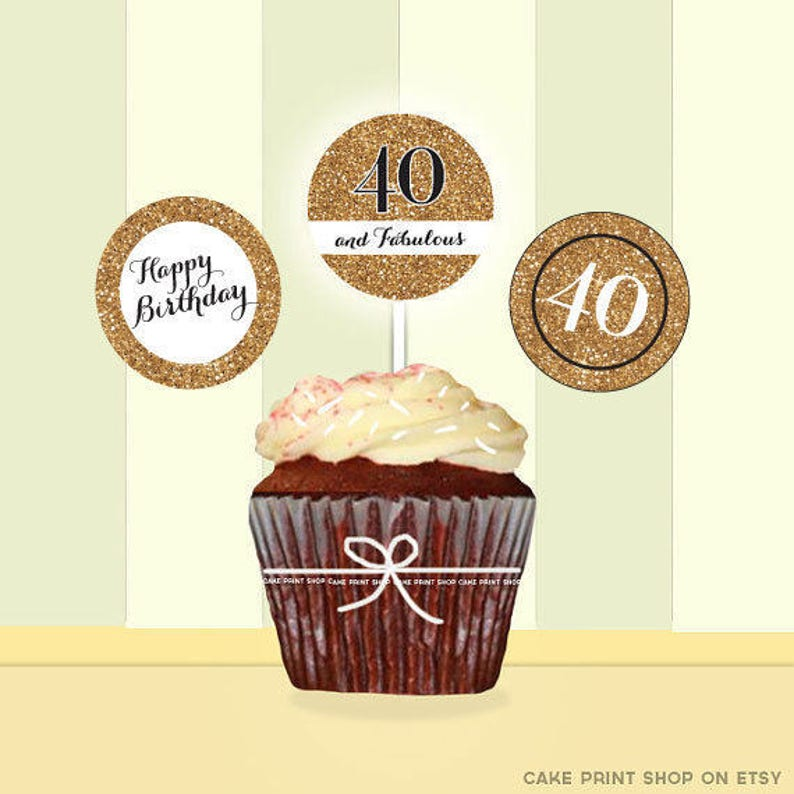 40th Birthday Printable Gold Glitter Cake Toppers