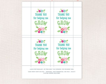 Thank you for helping me to grow, Teacher Thank you tag, Flowers Teacher appreciation tag, Plant Teacher gift, Teacher flower pot tag