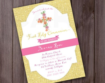 Girls Communion invitation, First Communion Printable invite, pink communion invite, first holy communion invite, spring communion printable