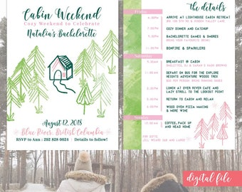 Cabin Weekend invite with itinerary, Wine in the woods, bachelorette camping weekend, girls cabin invite, flannel bachelorette printable