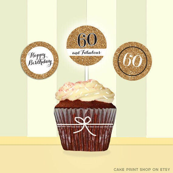 60th Birthday Gold Glitter Cupcake Toppers