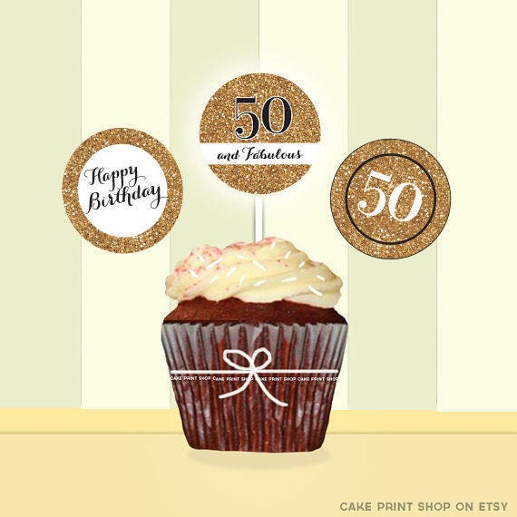 50th Birthday Gold Glitter Cupcake Toppers