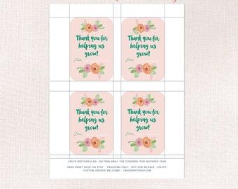 pretty Teacher appreciation tags, Thank you for helping us grow, blush Teacher appreciation tag, Plant Teacher gift, Teacher flower pot tag