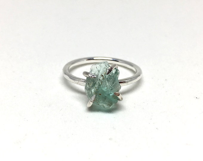 Catalina Ring - Emerald / California Collection // raw emerald ring, sterling silver, boho jewelry, raw gemstone ring, crystal ring