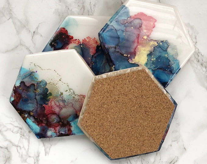 Blue and Pink Watercolor Coasters - Ready to Ship