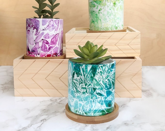 Featured listing image: Handpainted Succulent Planter - Tropical Grunge
