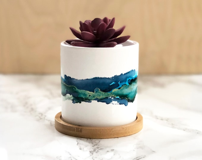Blue Watercolor Succulent Planter