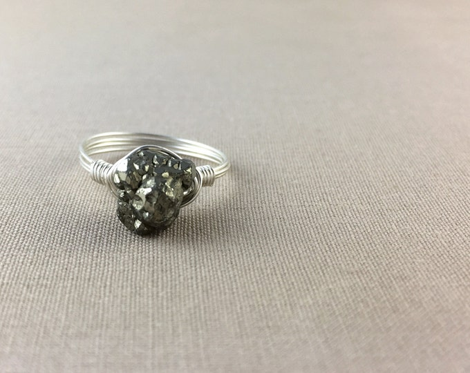 Raw Pyrite Wire-Wrapped Ring