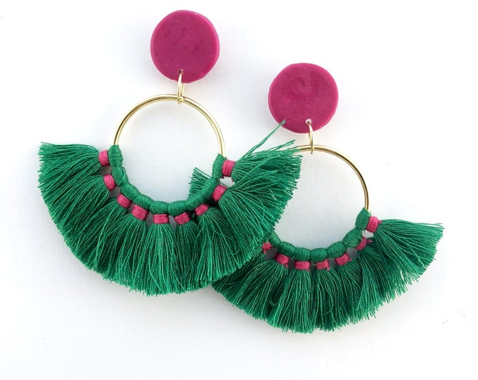 Green Fan Tassel Statement Earrings
