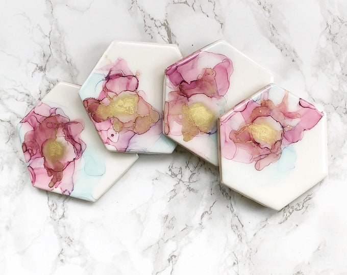 Featured listing image: Blush Pink and Lilac Watercolor Coasters - Quick Ship