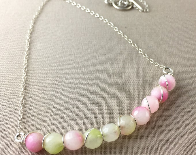 Pink and Green Agate Necklace