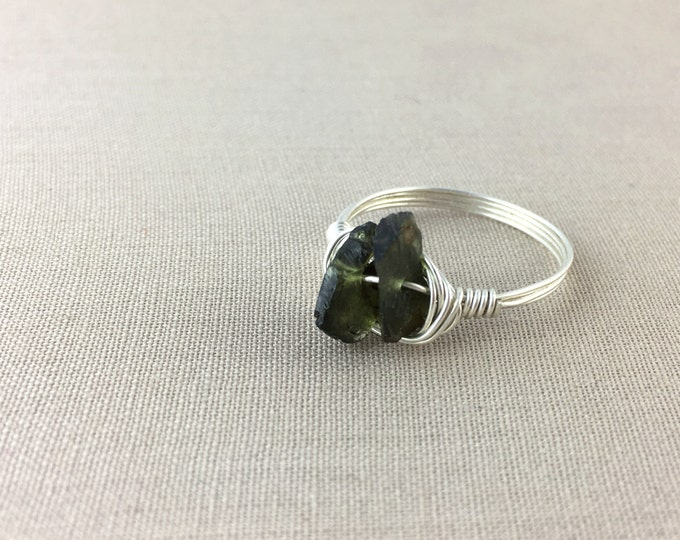 Green Tourmaline Wire-Wrapped Ring