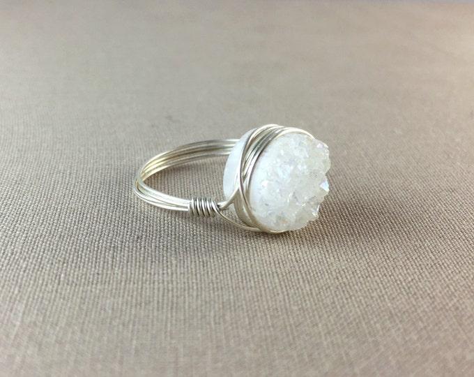 White Druzy Ring - Small