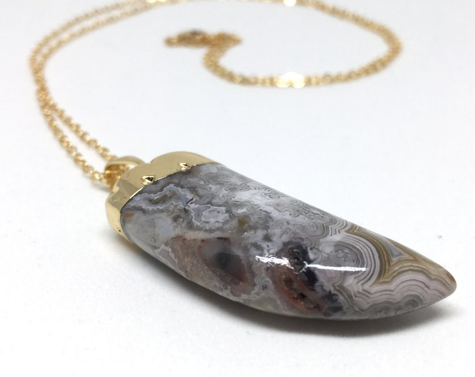Agate Claw Pendant Necklace