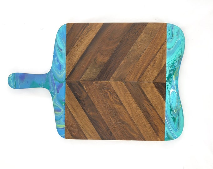 Teal Hand Marbled Herringbone Cheeseboard
