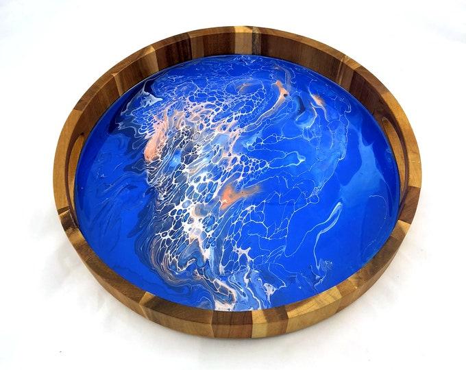 Hand Marbled Decorative Round Acacia Tray