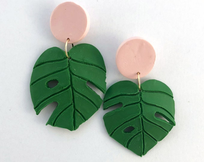 Monstera Leaf Statement Earrings