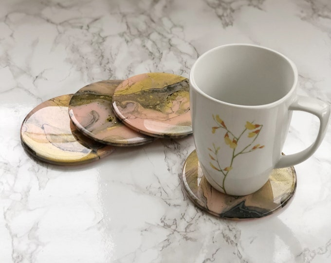 Blush and Gold Marbled Coasters - Ready to Ship
