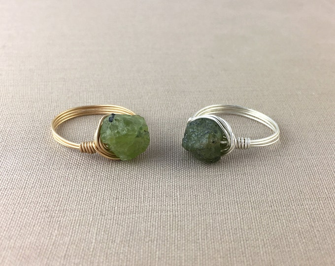 Raw Peridot Wire-Wrapped Ring