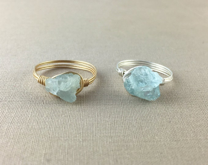 Raw Aquamarine Wire Wrapped Ring